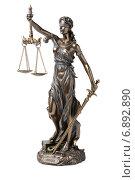 Купить «Статуя правосудия (Фемида) на белом фоне», фото № 6892890, снято 29 декабря 2014 г. (c) Денис Ларкин / Фотобанк Лори