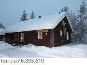 Дом в зимнем лесу, Финляндия (2012 год). Стоковое фото, фотограф Алексей Мальцев / Фотобанк Лори