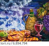 Купить «Картина. Рыба-гриль и красное вино», иллюстрация № 6894794 (c) Олег Хархан / Фотобанк Лори