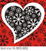 Сердце и снежинки. Стоковое фото, фотограф Микрюкова Елена / Фотобанк Лори