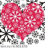Красное сердце на фоне из снежинок. Стоковая иллюстрация, иллюстратор Микрюкова Елена / Фотобанк Лори