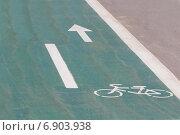 Купить «Знак велосипедной дорожки», фото № 6903938, снято 10 августа 2014 г. (c) Йомка / Фотобанк Лори