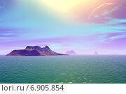 Купить «Чужая планета. Скалы и озеро», иллюстрация № 6905854 (c) Parmenov Pavel / Фотобанк Лори