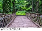 Купить «Старый мост через горную реку», фото № 6906438, снято 6 июля 2013 г. (c) Евгений Ткачёв / Фотобанк Лори