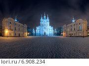 Смольный собор в Петербурге зимней ночью (2015 год). Стоковое фото, фотограф Алексей Марголин / Фотобанк Лори