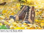 Ботинки женские на листве (2014 год). Редакционное фото, фотограф Роман Палтахиенти / Фотобанк Лори
