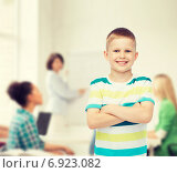 Купить «little boy in casual clothes with arms crossed», фото № 6923082, снято 3 июня 2014 г. (c) Syda Productions / Фотобанк Лори