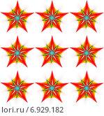 Купить «Бесшовный декоративный узор со звёздами на белом фоне», иллюстрация № 6929182 (c) Astronira / Фотобанк Лори