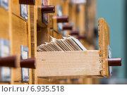 Купить «Открытый ящик в каталоге архива», фото № 6935518, снято 25 января 2015 г. (c) Валерий Бочкарев / Фотобанк Лори