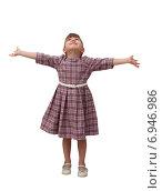 Счастливая девочка смотрит вверх широко расставив руки. Стоковое фото, фотограф Владимир Сидорович / Фотобанк Лори