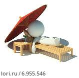 Купить «3d человечек отдыхает на шезлонге под зонтом», иллюстрация № 6955546 (c) Anatoly Maslennikov / Фотобанк Лори