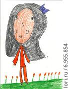 Детский рисунок, девочка. Стоковая иллюстрация, иллюстратор Светлана Самаркина / Фотобанк Лори