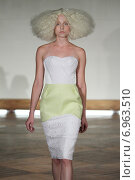 Купить «NEW YORK - SEPTEMBER 03: A model walks runway for Victor de Souza Spring Summer 2015 presentation during New York Fashion Week on September 03, 2014 in NYC.», фото № 6963510, снято 3 сентября 2014 г. (c) Anton Oparin / Фотобанк Лори