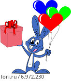 Синий кролик с подарком. Стоковая иллюстрация, иллюстратор Dmitry Polnikov / Фотобанк Лори