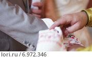 Купить «Священник соединяет руки новобрачных рушником», видеоролик № 6972346, снято 30 октября 2014 г. (c) Потийко Сергей / Фотобанк Лори