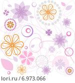 Цветочный розовый и фиолетовый орнамент. Стоковая иллюстрация, иллюстратор Миронова Анастасия / Фотобанк Лори