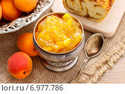 Купить «Bowl of apricot jam and apricot pastry in the background. Party dessert», фото № 6977786, снято 18 июня 2019 г. (c) BE&W Photo / Фотобанк Лори