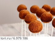 Купить «Cake pops before decorating. Party dessert», фото № 6979186, снято 11 июля 2020 г. (c) BE&W Photo / Фотобанк Лори