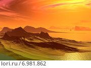Купить «Чужая планета. Скалы и озеро на закате», иллюстрация № 6981862 (c) Parmenov Pavel / Фотобанк Лори