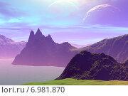 Купить «Чужая планета. Скалы и озеро», иллюстрация № 6981870 (c) Parmenov Pavel / Фотобанк Лори