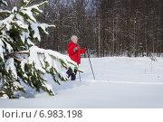 Женщина на лыжной прогулке. Февраль. Стоковое фото, фотограф Александр Романов / Фотобанк Лори