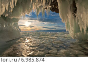 Купить «Байкальский весенний закат из ледового грота», фото № 6985874, снято 26 марта 2011 г. (c) Виктория Катьянова / Фотобанк Лори