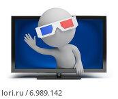 Купить «3d-человек в 3d-очках выглядывает из телевизора и машет рукой», иллюстрация № 6989142 (c) Anatoly Maslennikov / Фотобанк Лори