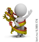 Купить «Китайский дракон обвивает 3d человечка», иллюстрация № 6989174 (c) Anatoly Maslennikov / Фотобанк Лори