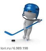 Купить «3d хоккеист с клюшкой и шайбой», иллюстрация № 6989198 (c) Anatoly Maslennikov / Фотобанк Лори