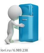 Купить «3d человек около холодильника», иллюстрация № 6989238 (c) Anatoly Maslennikov / Фотобанк Лори