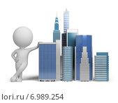 Купить «3d человек и небоскребы», иллюстрация № 6989254 (c) Anatoly Maslennikov / Фотобанк Лори