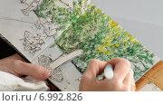 Купить «Художник рисует красками в альбоме», видеоролик № 6992826, снято 10 августа 2014 г. (c) Manuel Mata Gallego / Фотобанк Лори