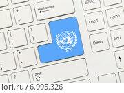 Купить «Белая концептуальная клавиатура - ООН (клавиша с изображением флага)», фото № 6995326, снято 28 августа 2013 г. (c) Самохвалов Артем / Фотобанк Лори