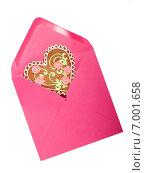 Имбирный пряник в розовом конверте. Стоковое фото, фотограф Галина Щипакина / Фотобанк Лори
