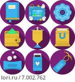 Круглые пурпурные иконки, подарки ручной работы. Стоковая иллюстрация, иллюстратор Oleksandr Yershov / Фотобанк Лори