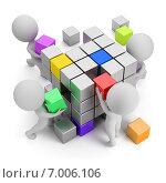 Купить «3d-человечки собирают большой куб из цветных кубиков. Концепция креатива», иллюстрация № 7006106 (c) Anatoly Maslennikov / Фотобанк Лори