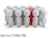 Купить «Один красный человек в толпе белых 3d-людей», иллюстрация № 7006158 (c) Anatoly Maslennikov / Фотобанк Лори