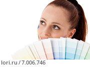 Купить «Young woman with a color guide.», фото № 7006746, снято 17 мая 2011 г. (c) Мельников Дмитрий / Фотобанк Лори