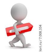 Купить «3d человек несет панель или строку поиска», иллюстрация № 7008334 (c) Anatoly Maslennikov / Фотобанк Лори