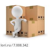 Купить «3d-человечек опирается на картонные коробки. Доставка товара», иллюстрация № 7008342 (c) Anatoly Maslennikov / Фотобанк Лори