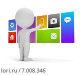 Купить «3d-человечек рядом с плоскими разноцветными иконками», иллюстрация № 7008346 (c) Anatoly Maslennikov / Фотобанк Лори