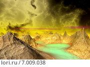 Купить «Чужая планета. Скалы и озеро», иллюстрация № 7009038 (c) Parmenov Pavel / Фотобанк Лори