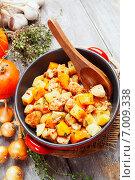 Купить «Куриное филе, тушенное с тыквой и картофелем в керамическом сотейнике, на столе», фото № 7009338, снято 12 февраля 2015 г. (c) Надежда Мишкова / Фотобанк Лори