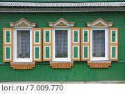 Купить «Три окна с красивыми деревянными резными наличниками», фото № 7009770, снято 5 мая 2014 г. (c) Илюхина Наталья / Фотобанк Лори