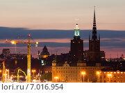 Стокгольм, Швеция. Ночной городской вид. (2010 год). Редакционное фото, фотограф Roman Vukolov / Фотобанк Лори