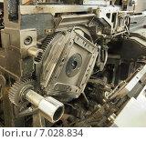 Купить «Внутренности старого механизма (линотип)», фото № 7028834, снято 6 февраля 2015 г. (c) Ельцов Владимир / Фотобанк Лори