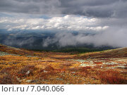 Горный пейзаж с облаками внизу. Алтай (2012 год). Стоковое фото, фотограф Александр Демьянов / Фотобанк Лори