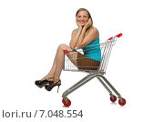 Купить «Woman in shopping concept isolated on white», фото № 7048554, снято 7 сентября 2014 г. (c) Elnur / Фотобанк Лори