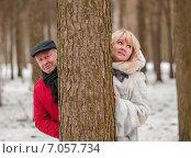 Купить «Счастливая семья. Симпатичные мужчина и женщина выглядывают из-за ствола большой сосны», эксклюзивное фото № 7057734, снято 23 февраля 2015 г. (c) Игорь Низов / Фотобанк Лори