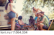 Купить «In high quality format hipsters having fun in their campsite», видеоролик № 7064334, снято 19 марта 2019 г. (c) Wavebreak Media / Фотобанк Лори